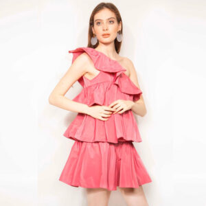 abito corto balze rosa kontatto