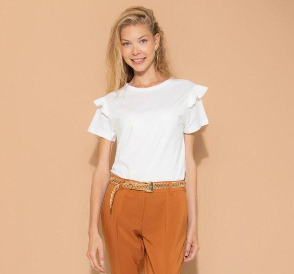 T-Shirt mezza manica rouches kontatto