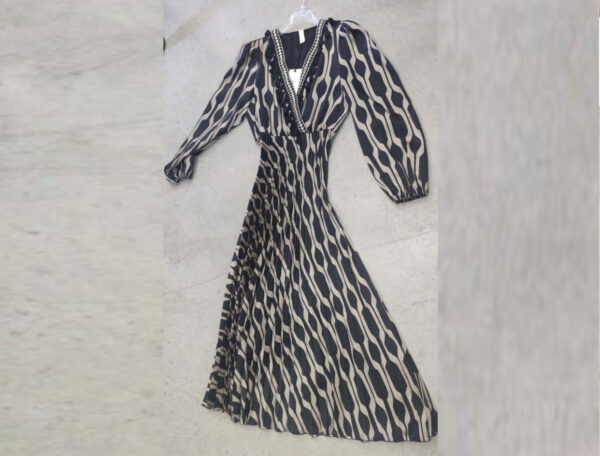abito lungo plissettato fantasia geometrica souvenir