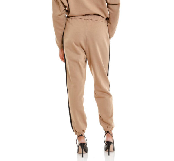 pantaloni felpa beige con due bande glitter